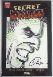 Secret Invasion #1 Convention Variant Hulk Head Sketch Signed Billy Tucci COA